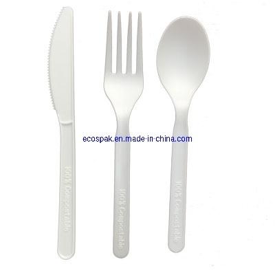"Kitchen Utensils Dinnerware Disposable 100% Biodegradable PLA Plastic Cutlery 6"" Set"