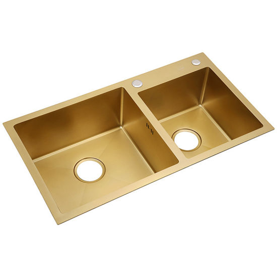 Can Be Custom Made Double Bowl Nanometer Antibacterial 304 Stainless Steel Nano Technology Rose Gold Color Kitchen Sink