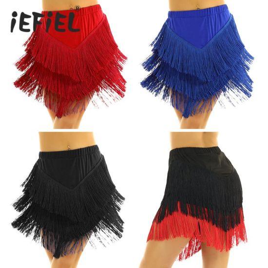 Women Fringe Asymmetric Latin Skirt Tango Rumba Ballroom Dancewear with Built-in Shorts