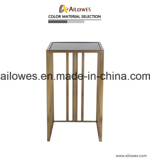 Living Room Hotel Furniture Champagne Gold Stainless Steel Black Glass Leisure Side Table