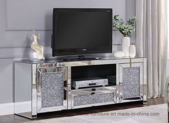New Patented Gorgeous Crushed Diamonds Mirrored TV Stand TV Cabinet
