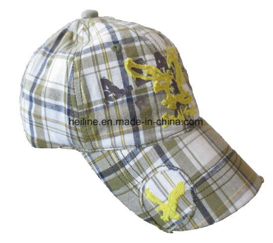 100% Cotton Check Plaid Fabric Custom Sewout Sport Cap