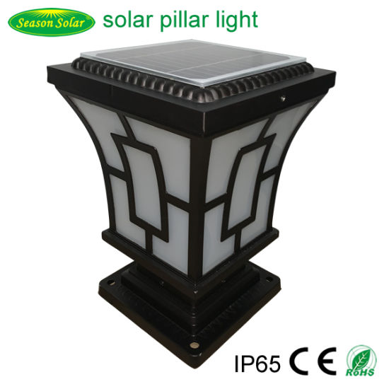 New 2021 LED Lighting Outdoor 5W Courtyard Garden Gate Solar Pillar Light with Warm White LED Light