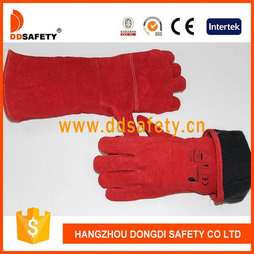 China Supplier Red Cow Split Leather Welder Gloves