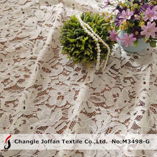 Textile Jacquard Guipure Lace Cotton Fabric Lace Wholesale (M3498-G)