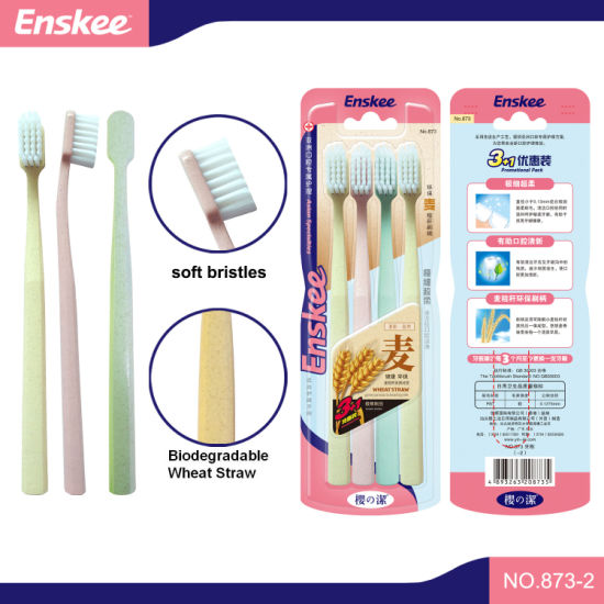 Eco Friendly Biodegradable Handle Bamboo Bristles Adult Toothbrush