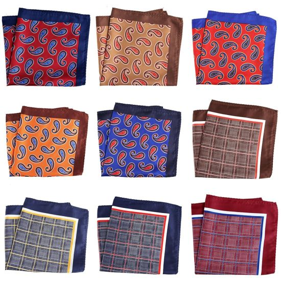 Stocked Men Large Size 33X33cm Floral Checked Paisley Suit Pocket Square  Handkerchief
