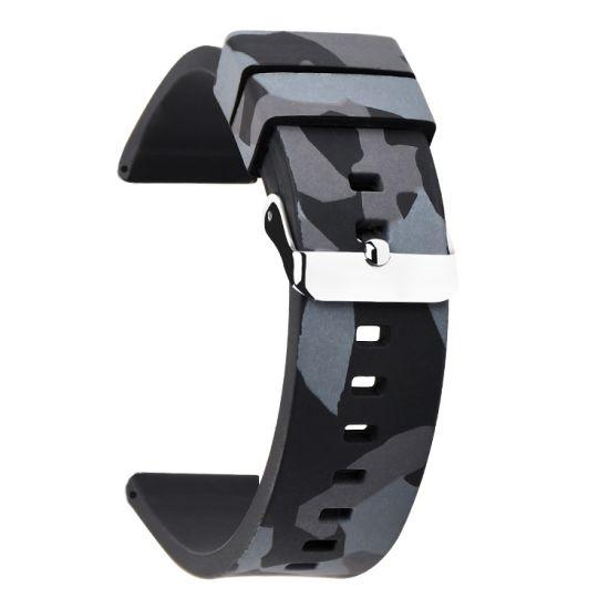 Grey Camo Print Soft Silicone Rubber Watch Strap Nato