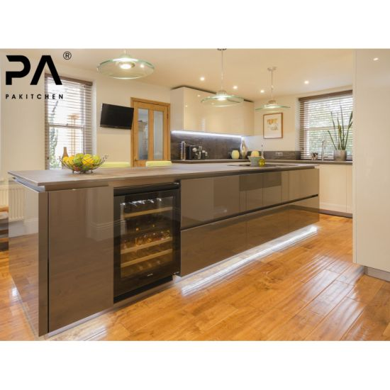 Best Price Affordable Waterproof Modern Design MDF Lacquer Beige Kitchen  Cabinets