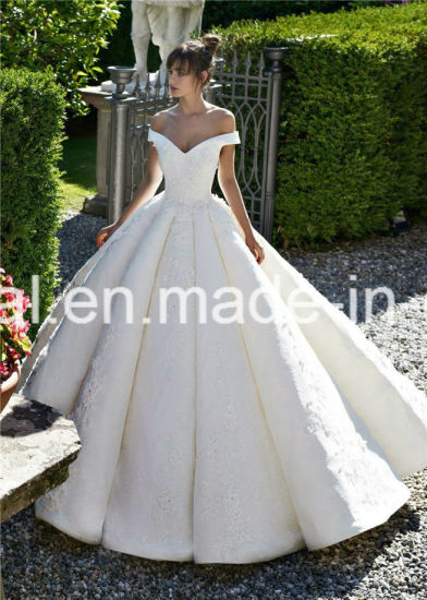 off Shoulder Ball Gowns Lace Beaded Puffy Luxury Bridal Wedding Dresses 2019 Lb1828