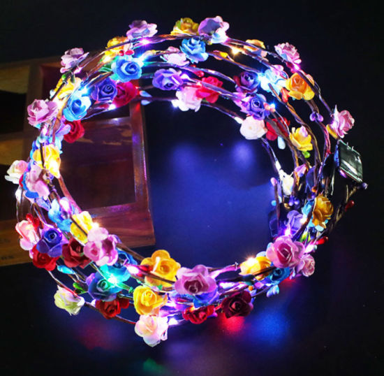 Women Girls LED Flower Head Band Crown for Wedding Festival and Partys