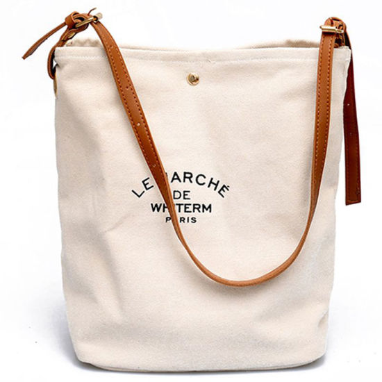 Wholesale Cheap Logo Design Promotional Price Recyclable Custom Printed Canvas Cotton Lady Tote Shopping Bags
