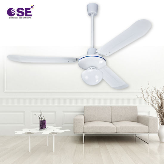 56 Inch Home Energy White Ceiling Fan with LED Light