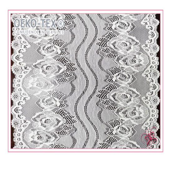 Good Quality White Embroidery Scalloped Stretch Lace Border for Lace
