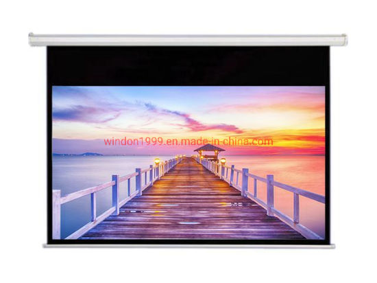 16: 9 Motorized Retractable Screens with Matte White Fabric No Curling and Stripes