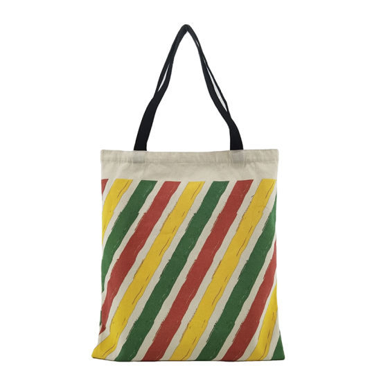Large Capacity Colorful Stripe Poly Children's Reusable Cotton Tote Bag with Loog Handle