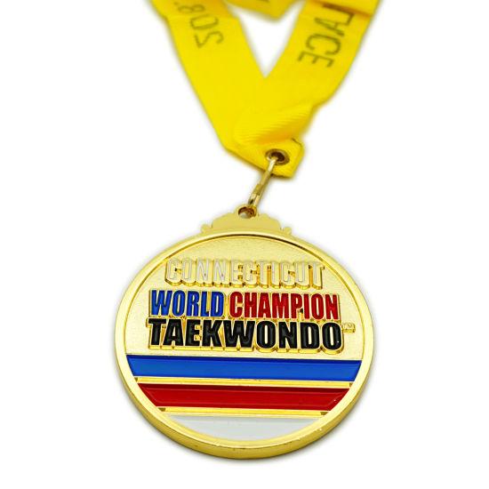 Factory No Minimum Personalized Custom Zinc Alloy Taekwondo Sports Adward Military Gold Metal Medal (FTMC2035)