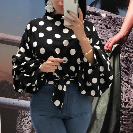 Fashion Women's Black DOT Fashion Casual Long Puff Sleeve Top
