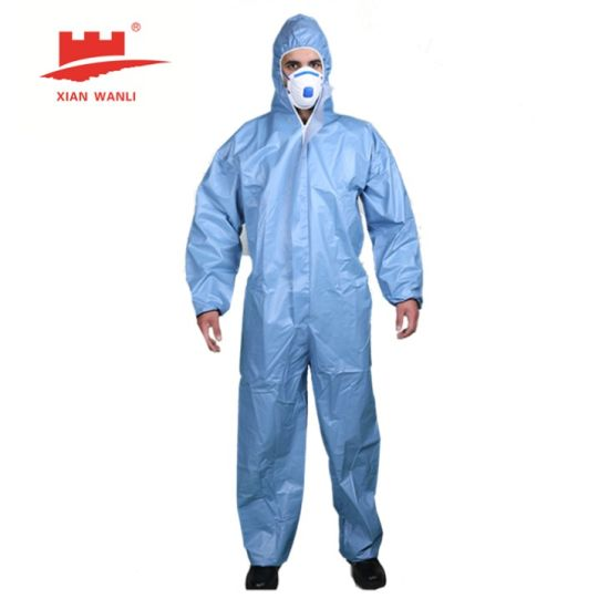 Wlo 3002 Type 56 Coverall En14126 En13034 En13982-1: 2004 Microporous Film Coverall Non-Woven Protective Safety Coverall Against Solid Dusts and Minor Splashing