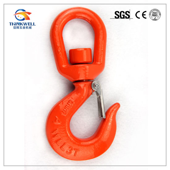 Red Painted Alloy Steel Swivel Hooks with Safety Catch 3 Ton