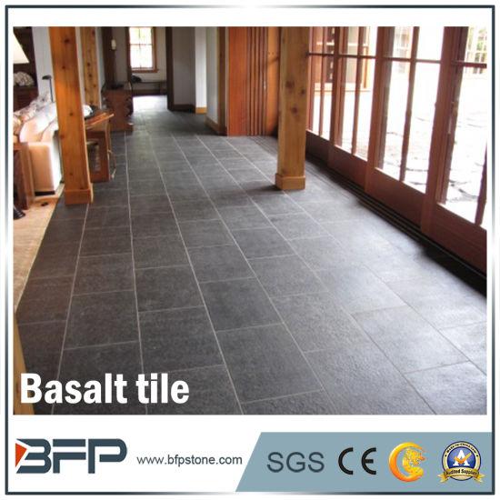 China Hainan Black Natural Basalt Stone Floor Tiles For Kitchen