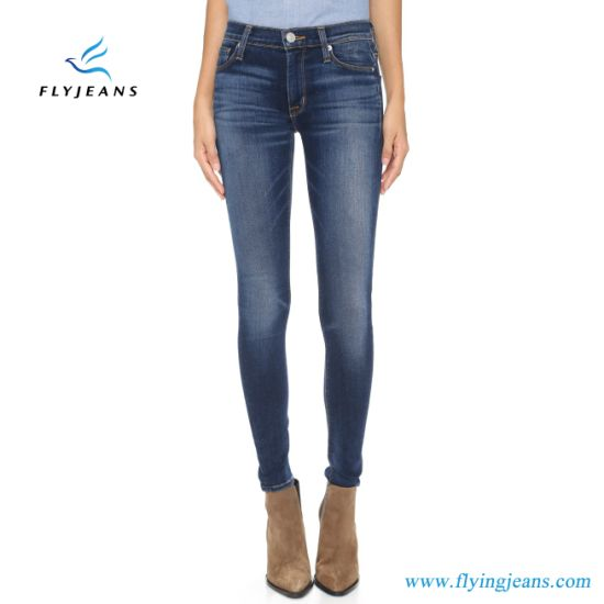 2dc485f6046 China Factory Direct Sale Blue Super-Stretch Ladies Skinny Jeans ...