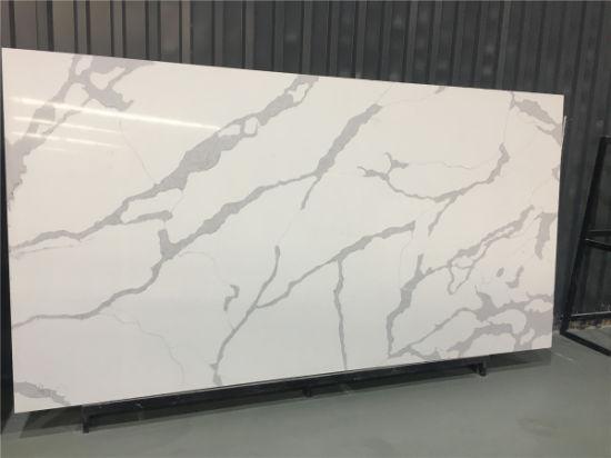 Wholesale Price Populart Calacatta White Quartz Stone for Kitchentop Floor/Wall Tile