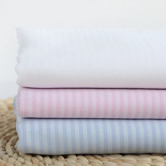 Herringbone Twill Stripes Cotton Dobby Yarn Dyed Blouses Textile Shirt Fabric pictures & photos