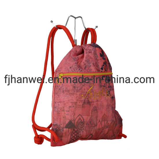 Good Quality Light Weight Children Polyester Printing Drawstring Bag