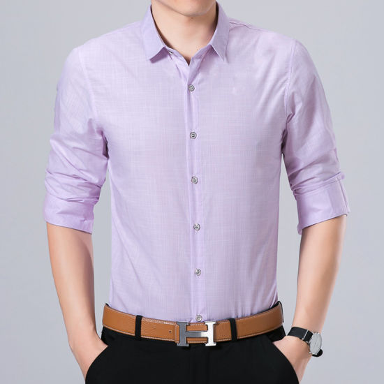 Fashion Cotton Button Down Plain Men Shirt pictures & photos