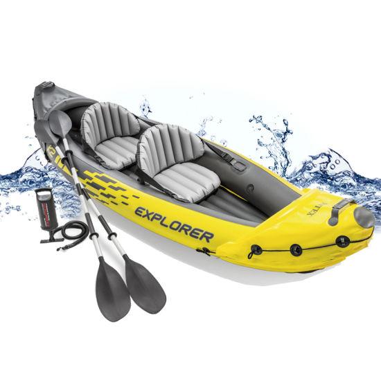 K2 Inflatable Rowing Boats, 2 People Fishing Kayak Drop Stitch Tandem Canoe Kayak Inflatable Boat Kayak