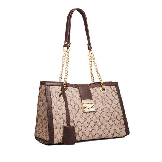 Fashion Ladies Leather Handbags Chain Tote with Turn Lock Womens Shoulder Handbag
