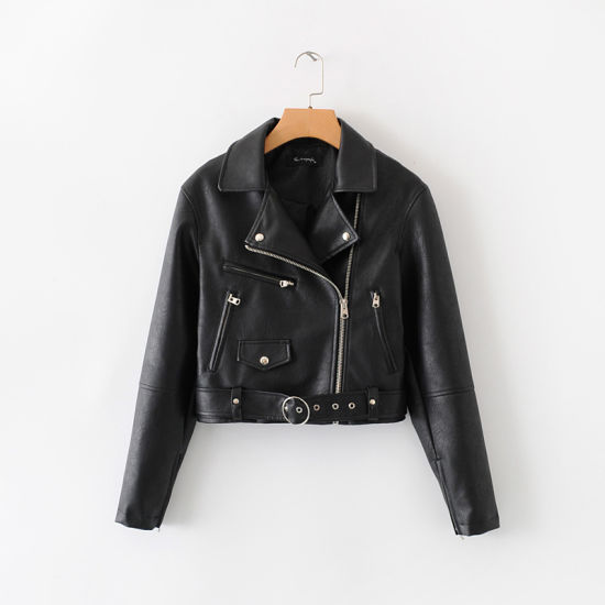 Women′s Short Style Lapel Collar PU Jacket with Self Belt pictures & photos