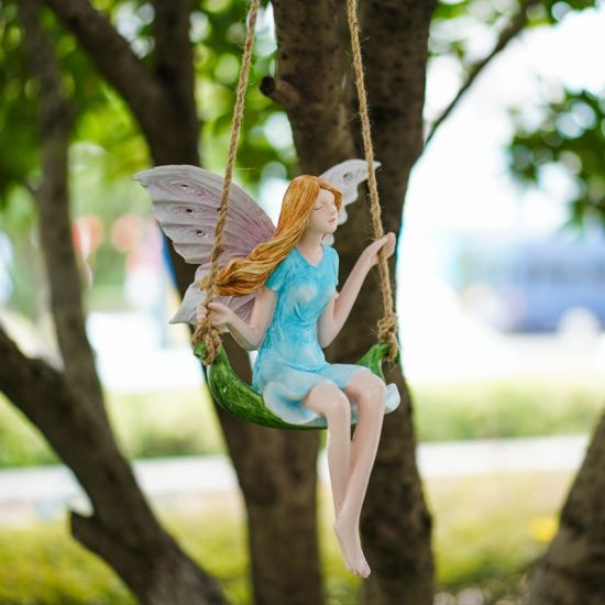 Factory Wholesales Polyresin Sculpture Resin Swing Fairy Craft for Decoration
