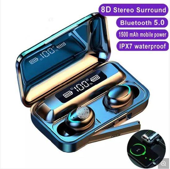 Wireless Earphone V5.0 F9-5 Tws Bluetooth Earphone LED Digital Display Touch with 1200mAh Headset Microphone