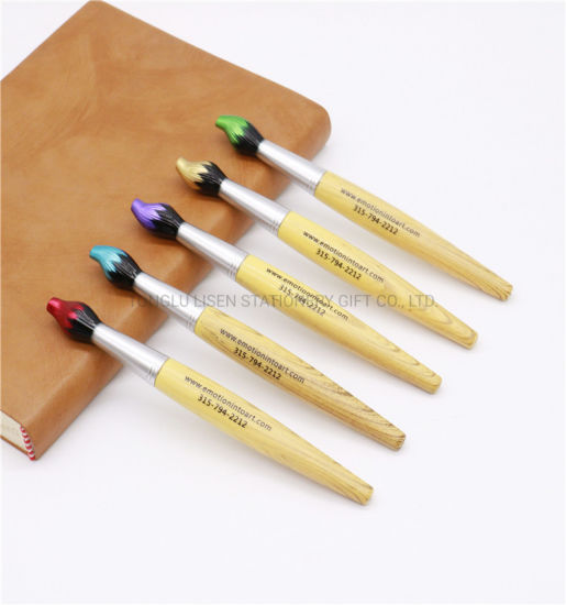 Bamboo Barrel Paint Brush Shaped Twist Pen with Custom Logo
