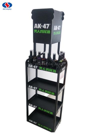 Supermarket Metal Floor Display Shelf For Beer