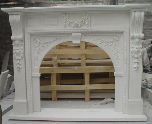 Antique Indoor Freestanding Decoritive White Marble Fireplace with Mantel Surround pictures & photos