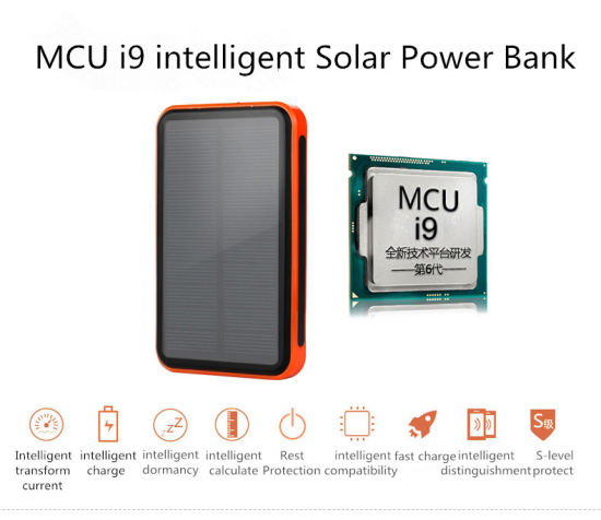 High Efficiency Mini Solar Power Bank 9000mAh Portable Charge Battery Power Supply pictures & photos