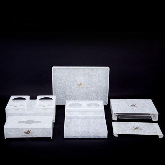 5 Piece Marble White Acrylic Bathroom Accessories (Tissue Box, Tea coffee Holder, Tootbrush Box, Drink holder etc)