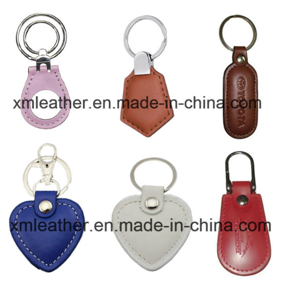 Personalized PU Leather Heart Shape Key Holder Key Chain with Ring