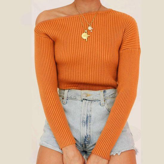 Women One Shoulder Thread Knit Long Sleeve Pullover T-Shirt