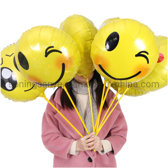 Dto0293 Festival and Gift Toy 18inch Round Yellow Emotions Face Foil Balloon