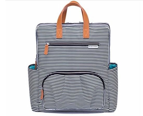 Multifunction Leisure Polyester Stripes Bag Baby Diaper Backpack for Mummy/Ladies