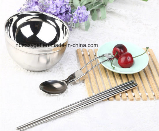 Stainless Steel Folding Cutlery Sets, Travel Picnic Lunch Bowl Spoon Chopsticks Camping Outdoor Tableware with Zipper Case Holder, for Family, Lovers pictures & photos
