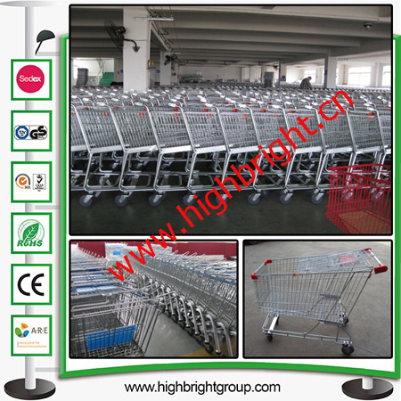 Double Basket Plastic Shopping Cart for Hyper Market pictures & photos
