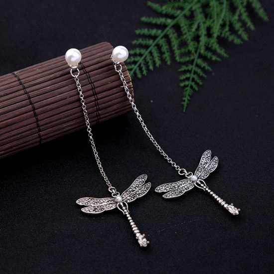 New Elegant Retro Rhinestone Studded Dragonfly Shape Long Alloy Earrings with Pearl pictures & photos