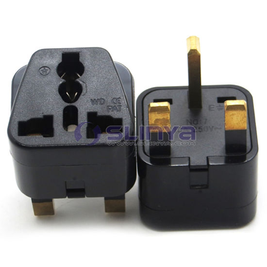 Brass Universal Travel Adapter Au Us EU to UK Adapter Converter 3 Pin .
