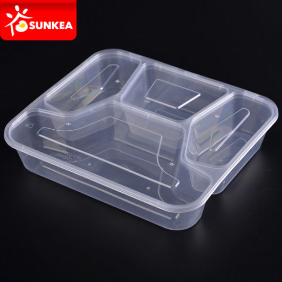 3 4 Compartments Transparent Clear Disposable Plastic Lunch Food Box