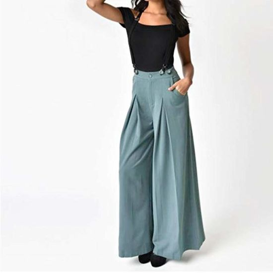 77b8d0b03 Customized Women Casual Pleated High Waisted Wide Leg Palazzo Pants  Suspenders Trousers